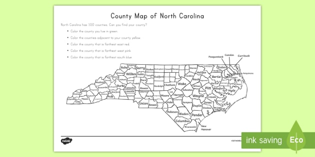 The Counties of North Carolina Map - United States History, State history, North Carolina, Counties