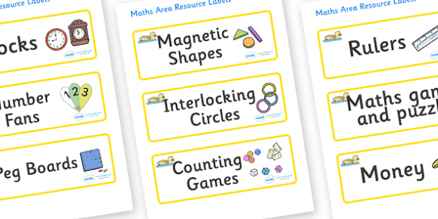 Gosling Themed Editable Maths Area Resource Labels - Themed maths resource labels, maths area resources, Label template, Resource Label, Name Labels, Editable Labels, Drawer Labels, KS1 Labels, Foundation Labels, Foundation Stage Labels, Teaching Lab