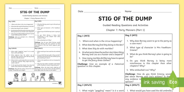 Stig of the Dump Guided Reading Questions Chapter 7 Part 1
