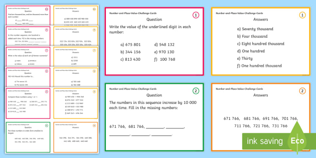 Year 5 Number and Place Value Challenge Cards - challenge cards