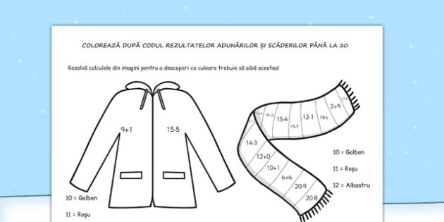 Îmbrăcăminte de iarnă - Colorează după codul rezultatelor - îmbrăcăminte, iarnă, colorare, cod, culori, rezultate, materiale, materiale didactice, română, romana, material, material didactic