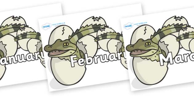 Months of the Year on Hatching Aligators - Months of the Year, Months poster, Months display, display, poster, frieze, Months, month, January, February, March, April, May, June, July, August, September