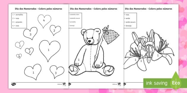 Dia Dos Namorados Colorir Pelos Numeros Teacher Made