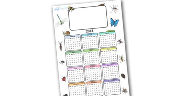 Editable 2013 Calendar Minibeast - calendar, editable calendar, months of the year, display calendar, minibeasts, minibeast, minibeast calendar, minibeast themed calendar, insects, insect calendar, display, display poster, poster, the year, 2013, 201