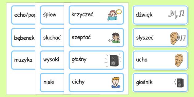 Karty ze słownictwem Dźwięk i słuch po polsku - muzyka, rytmika