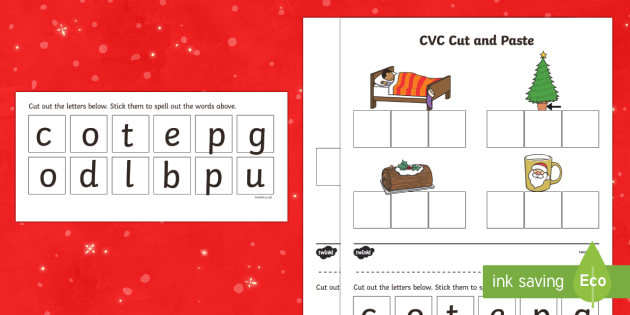 t t christmas cvc words cut and paste activity ver 1