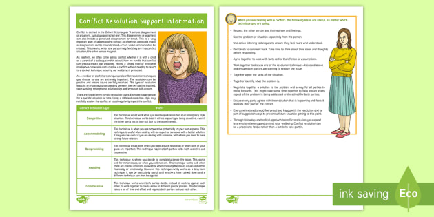conflict resolution support information sheet adult