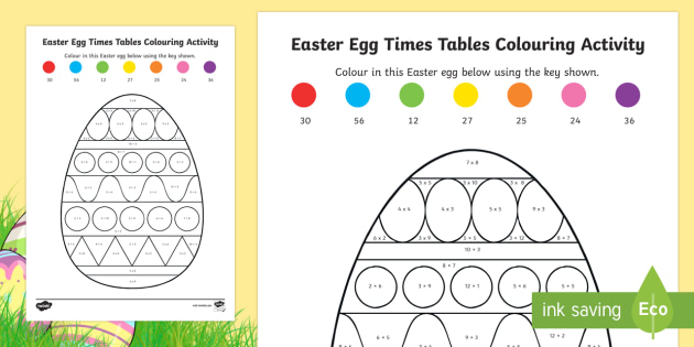 Times Tables Easter Egg Colouring Activity Sheet