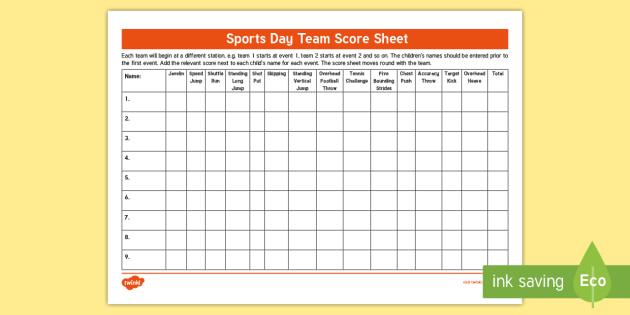 Sports Day Team Score Sheet