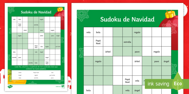 christmas words sudoku worksheet activity sheet spanish