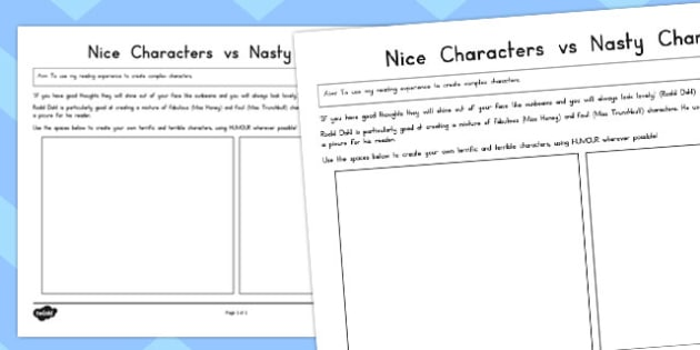 Nice Characters vs Nasty Characters Worksheet to Support Teaching on Matilda - australia