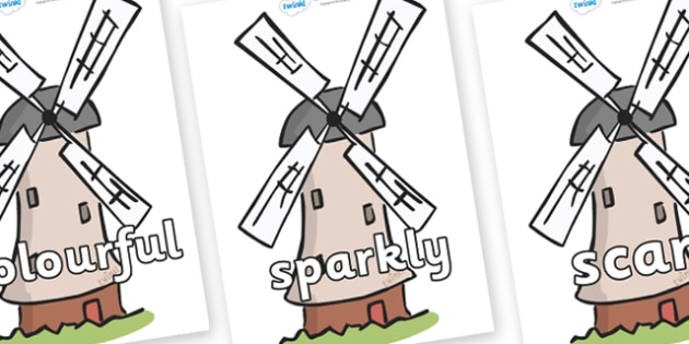 Wow Words on Windmills - Wow words, adjectives, VCOP, describing, Wow, display, poster, wow display, tasty, scary, ugly, beautiful, colourful sharp, bouncy