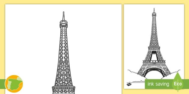 Hoja De Colorear La Torre Eiffel Pintar Colorear