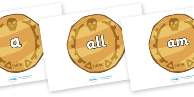 Foundation Stage 2 Keywords on Pirate Coins - FS2, CLL, keywords, Communication language and literacy,  Display, Key words, high frequency words, foundation stage literacy, DfES Letters and Sounds, Letters and Sounds, spelling