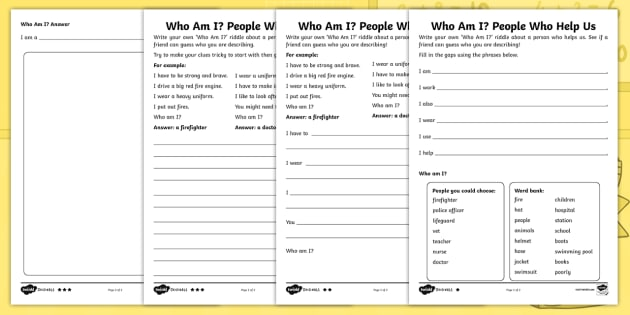 Charlie the Firefighter Who Am I? Riddle Differentiated Worksheet