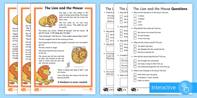 the lion and the mouse differentiated comprehension worksheet. Black Bedroom Furniture Sets. Home Design Ideas