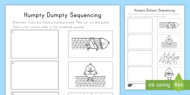 Humpty Dumpty Sequencing Worksheet Activity Sheet Nursery