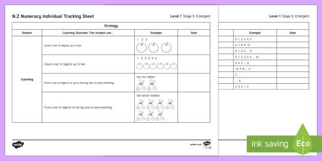 Stage 0 Numeracy Individual Assessment Checklist - New Zealand, Planning and Assessment,numeracy,mathematics,stage 1,stage 0,emergent mathematics,stude