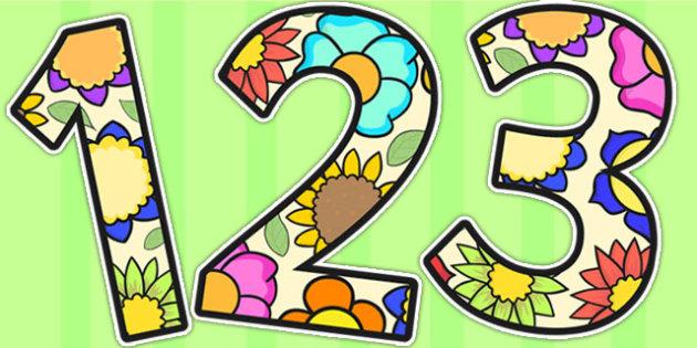 Flower A4 Display Numbers - flowers, A4, numbers, number display