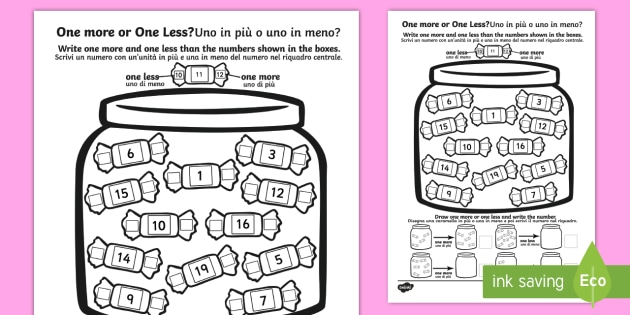 Dirección hemisferio transportar  One More One Less Sweet Counting Worksheet / Worksheet English/Italian - One