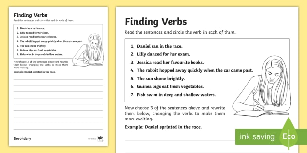 ks3 sen finding verbs worksheet activity sheet finding verbs worksheet. Black Bedroom Furniture Sets. Home Design Ideas