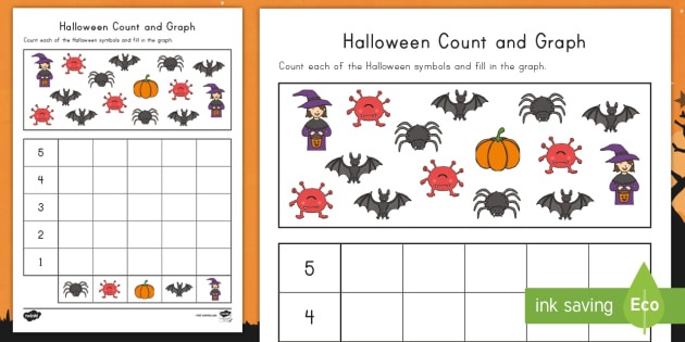 Halloween Count and Graph Activity Sheet - Graph, One-to-one correspondence, math, pre-K, counting, number recognition, Worksheet