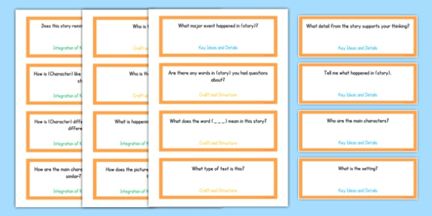 Common Core Kindergarten Reading Literature Question Stem Cards - American, comprehension, prompts, story, non-fiction, English