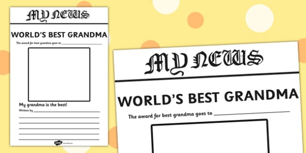 World's Best Grandma Newspaper Writing Template - newspaper, template
