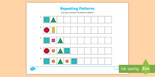 Repeating Pattern Worksheet Activity Sheets Shapes And