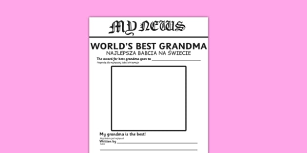 Worlds Best Grandma Newspaper Template Polish Translation - polish, newspaper, template, best grandma, activity