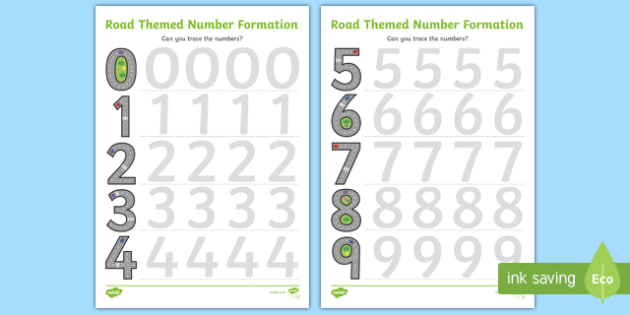 Road Themed Number Formation Activity Sheets - road, road themed, number formation, number, formation, activity, overwriting