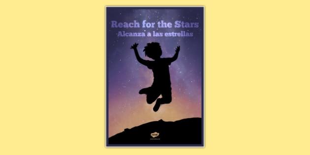 Reach For The Stars Motivational Poster Spanish Translation--translation