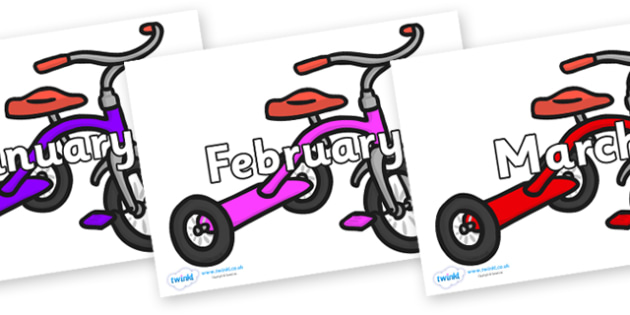Months of the Year on Trikes - Months of the Year, Months poster, Months display, display, poster, frieze, Months, month, January, February, March, April, May, June, July, August, September