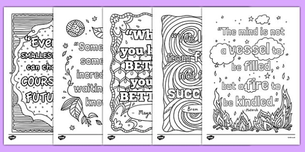 Classroom Inspiration Quotes Mindfulness Colouring Sheets
