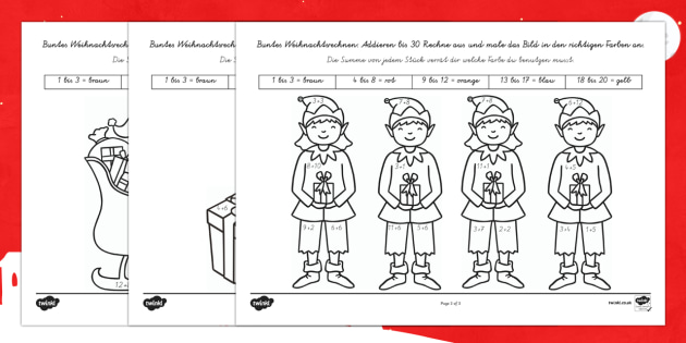 Weinachtsrechnen: Addieren bis 30 Arbeitsblätter-German