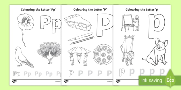 NEW Letter P Colouring Pages