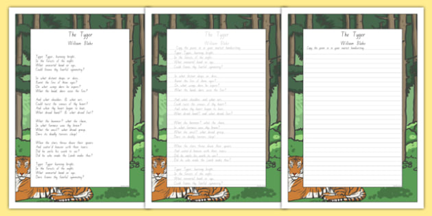 New Zealand The Tyger Poem Handwriting Practice Activity Sheets, william blake, poem, poetry., worksheet