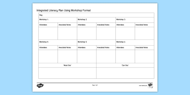 integrated literacy using workshop format planning template new zealand planning literacy reading