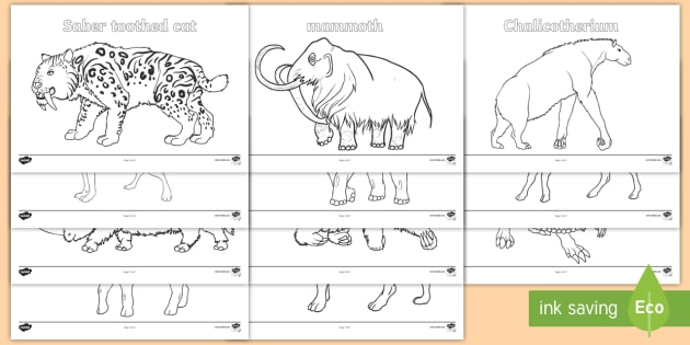 Stone Age Animals Colouring Pages Stone Age Animals Large Display