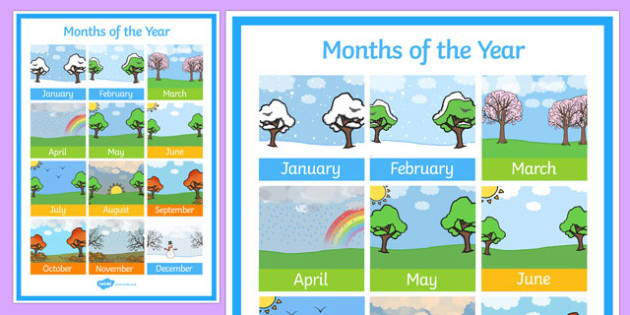 months of the year poster months year poster display