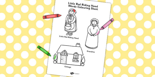Little Red Riding Hood Words Colouring Sheet - colouring, sheet