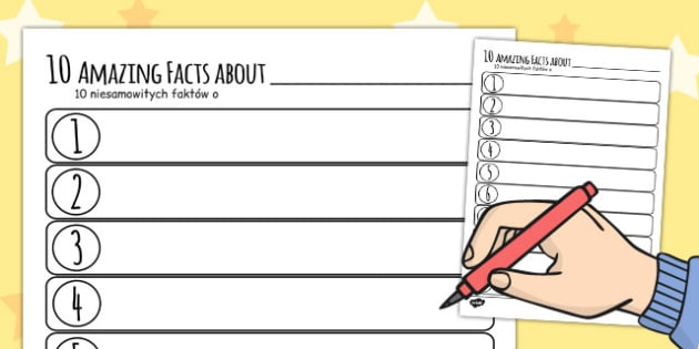 Ten Facts About Me Worksheet Polish Translation - polish, about me