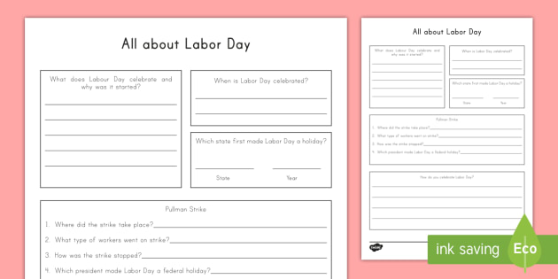 all about labor day activity sheet worksheet labor day federal holiday. Black Bedroom Furniture Sets. Home Design Ideas