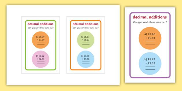 IKEA Tolsby Decimals Additions Maths Challenge Cards - ikea tolsby, decimals, additions, maths challenge cards, maths, challenge