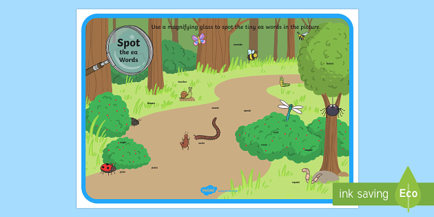 Phase 5 ea Words Minibeasts Scene Magnifying Glass Activity Sheet - phonics, letters and sounds, phase 5, ea sound, magnifier, magnifying glass, find, activity, group,