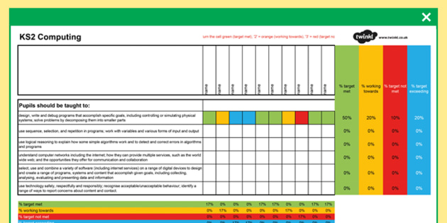KS1 and KS2 Computing Curriculum Assessment Spreadsheet