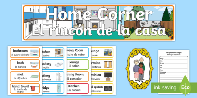 Home Corner Role Play Resource Pack - English / Spanish - Home ...