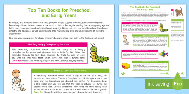 An Early Years And Preschool Book List Parent And Carer - World first language list
