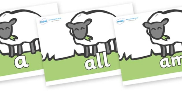 Foundation Stage 2 Keywords on Sheep to Support Teaching on Pig in the Pond - FS2, CLL, keywords, Communication language and literacy,  Display, Key words, high frequency words, foundation stage literacy, DfES Letters and Sounds, Letters and Sounds,