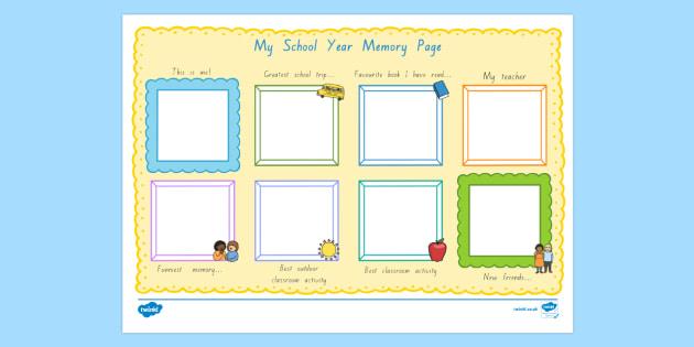 School Year Memory Write-Up - nz, new zealand, writing template, school memories